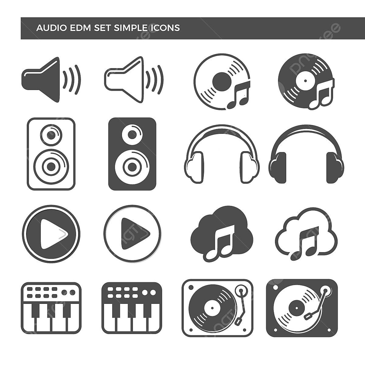 Electronic Dance Music Audio Set Icons, Dj, Headphone