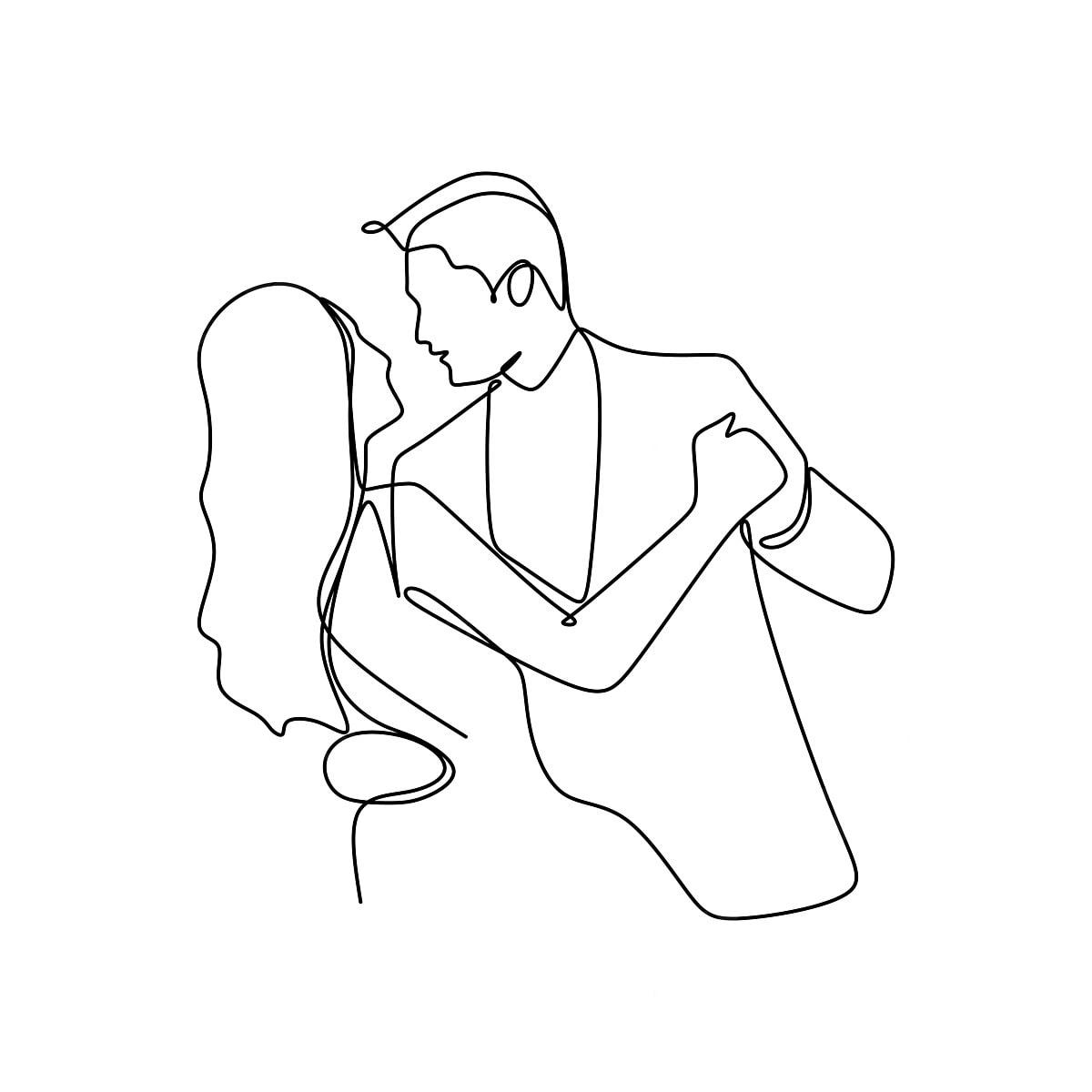 Elegante Romantico Casal Apaixonado Uma Linha Continua De Arte