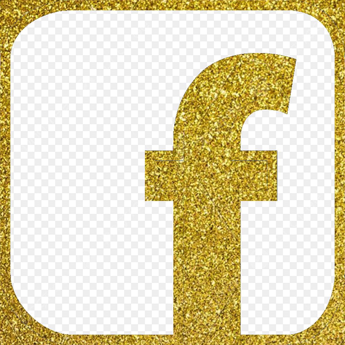 Facebook Icon Fb Icon, Facebook Icon, Gold Color Glitter, Gold