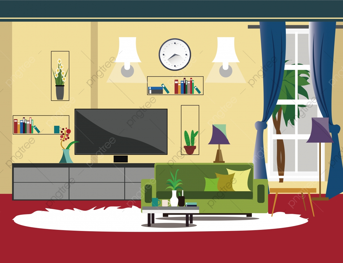 Family Scene Living Room Sofa Tv Set Room Clipart Chandelier Floor To Ceiling Window Png And Vector With Transparent Background For Free Download