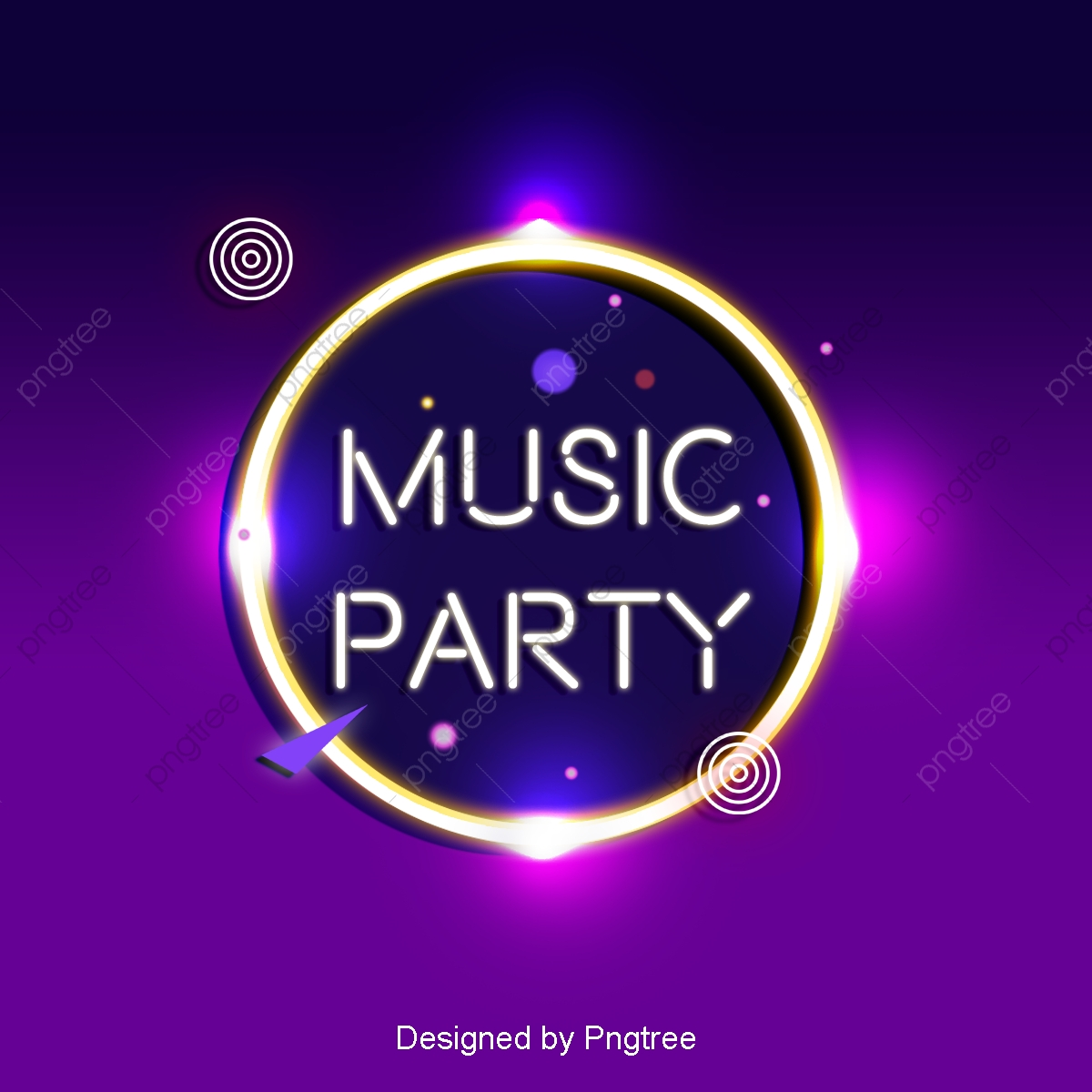 Fashion Music Party Background With Neon Effect Banner