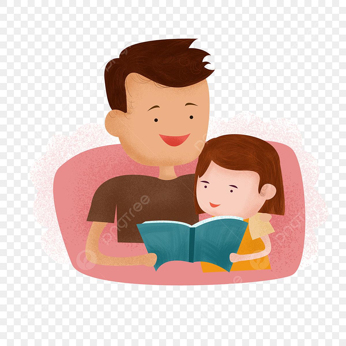 Gambar Elemen Ayah Dan Anak Perempuan Membaca Buku Bersama Membaca Buku Bersama Membaca Buku Buku Png Dan Clipart Untuk Muat Turun Percuma