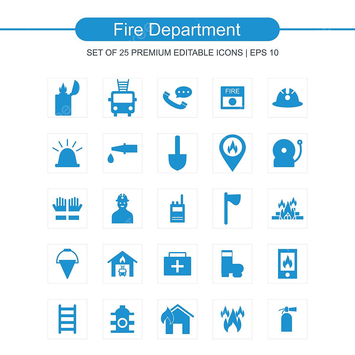 Feuerwehr Icons Set Feuer Symbol Abteilung Png Und Vektor