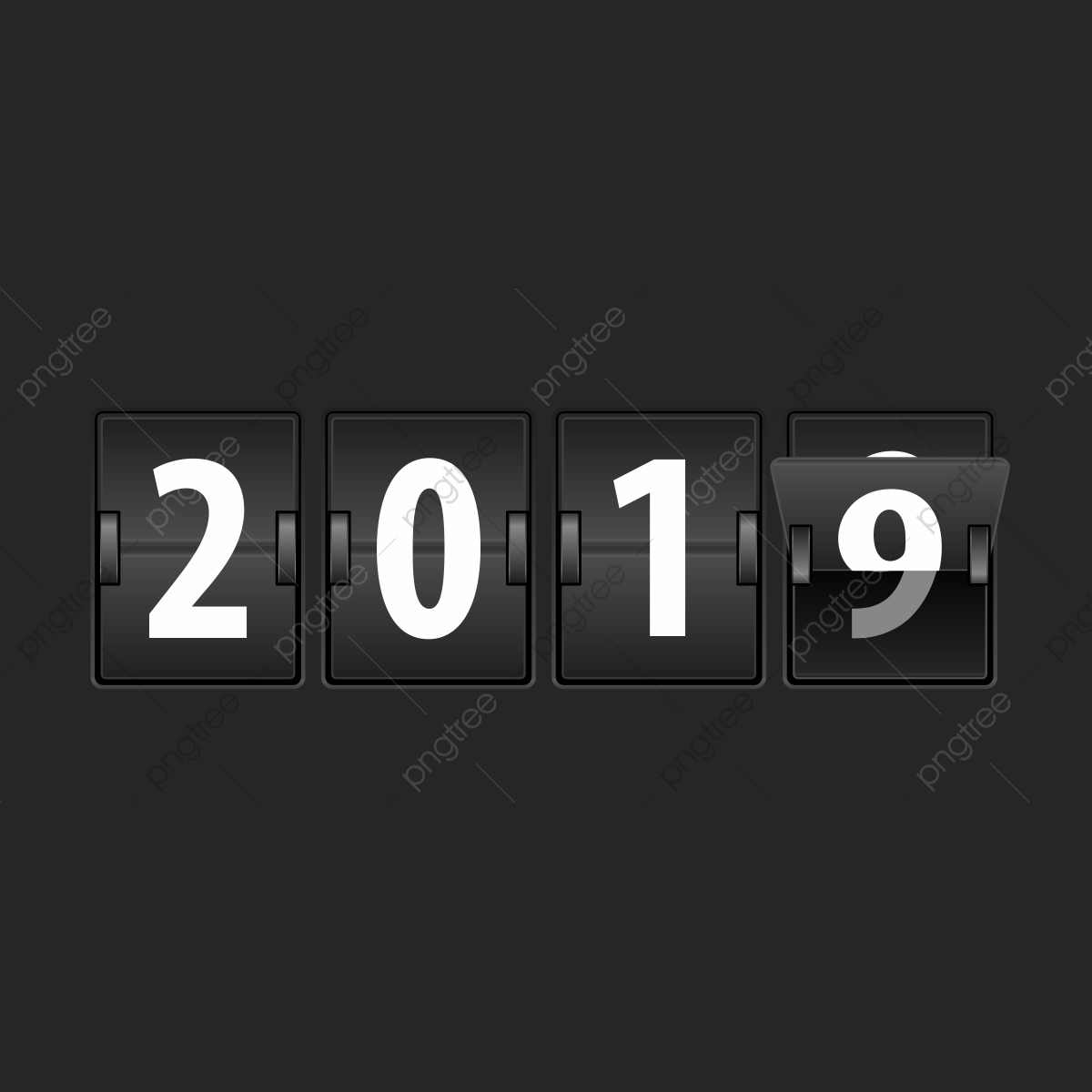 Flip Clock 2019, 2019, New Year, New PNG and Vector with Transparent