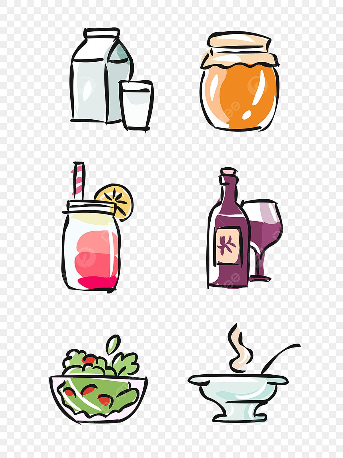 Unsur Makanan Tangan Ditarik Minuman Kartun Comel Makanan Kartun
