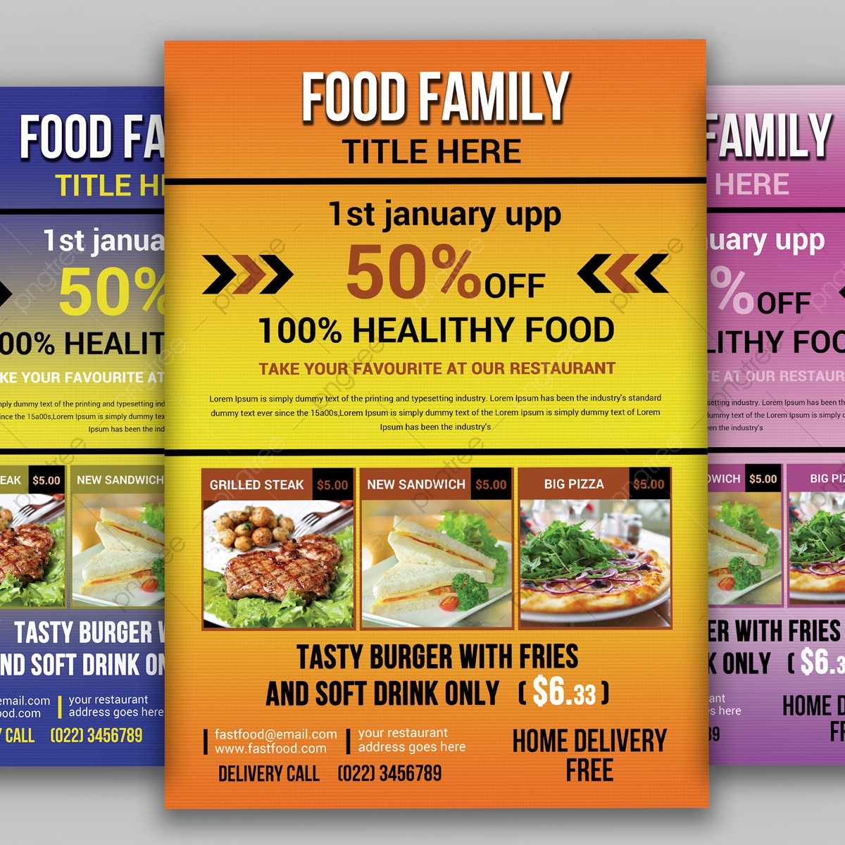 Food Flyer Template, Business, Delicious Menu, Fast Food PNG
