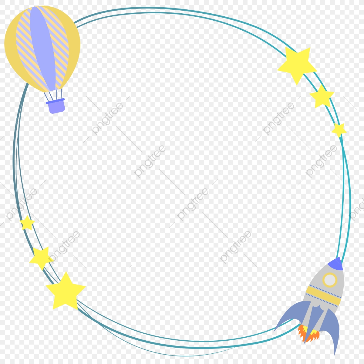 Frame Border Rocket Balloon Stars Baby Shower Invitation Background Png Transparent Image And Clipart For Free Download