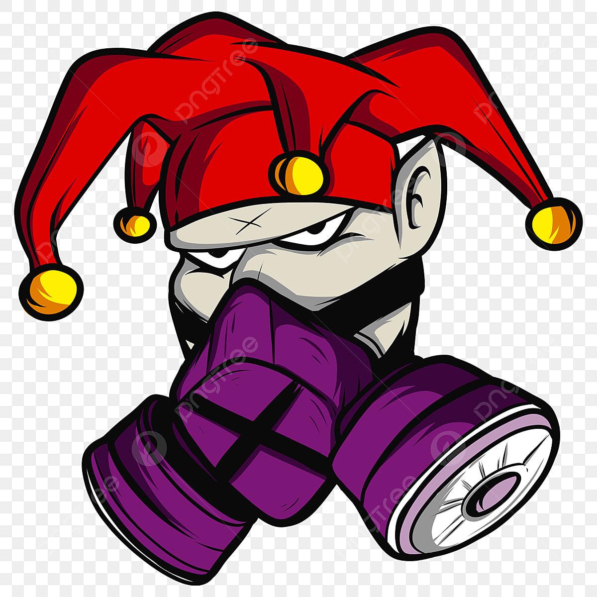 Topeng Gas Joker Kartun Cartoondesign Clothigline Fail Png Dan