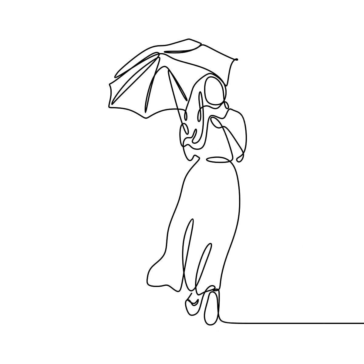 Gambar Gadis Dengan Payung Hebat Dan Cantik Berterusan Garis Lukisan Design Minimalis Tudung Wanita Elegan Bentuk Gadis Model Cantik Png Dan Vektor Untuk Muat Turun Percuma