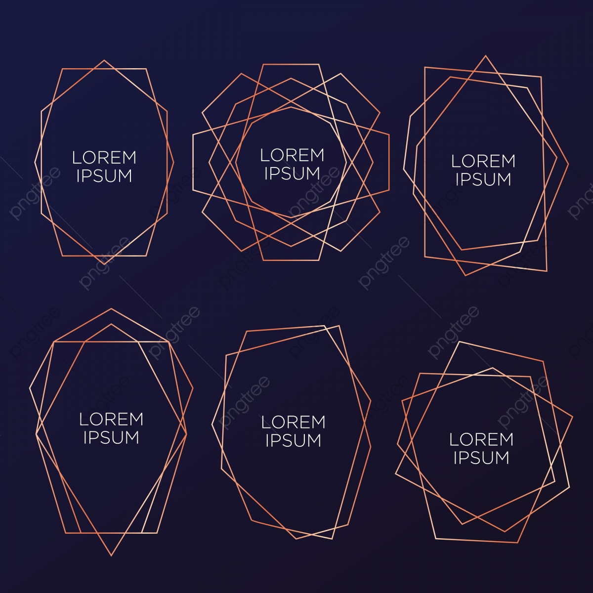 Gold Collection Of Geometrical Polyhedron Art Deco Style For