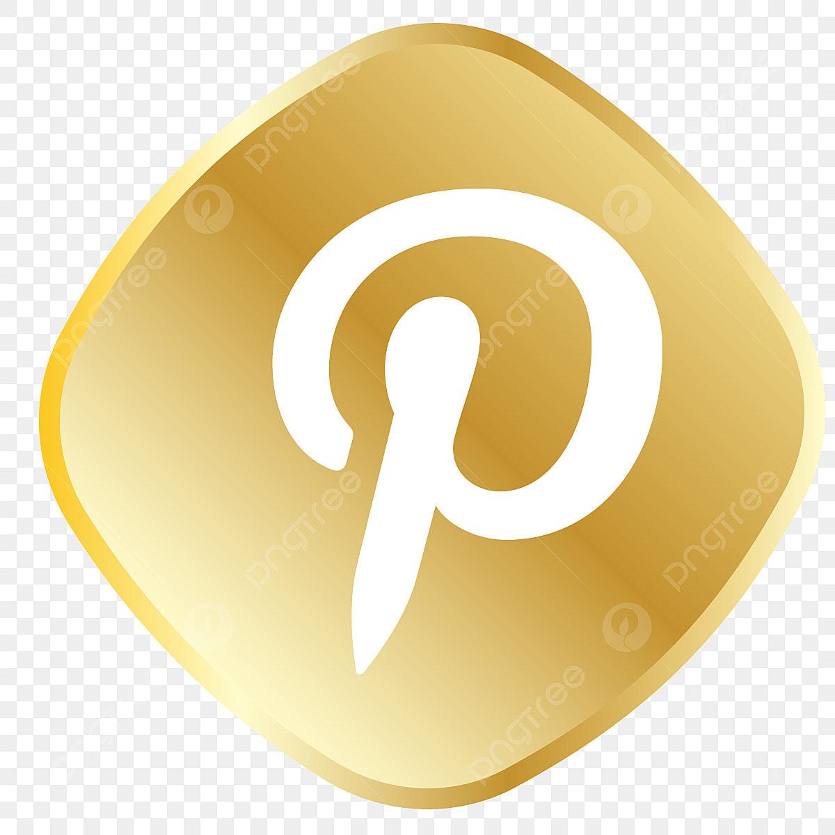 Golden Pinterest Icon, Social Media Vector, Royal, Golden ...Pinterest Circle Icon