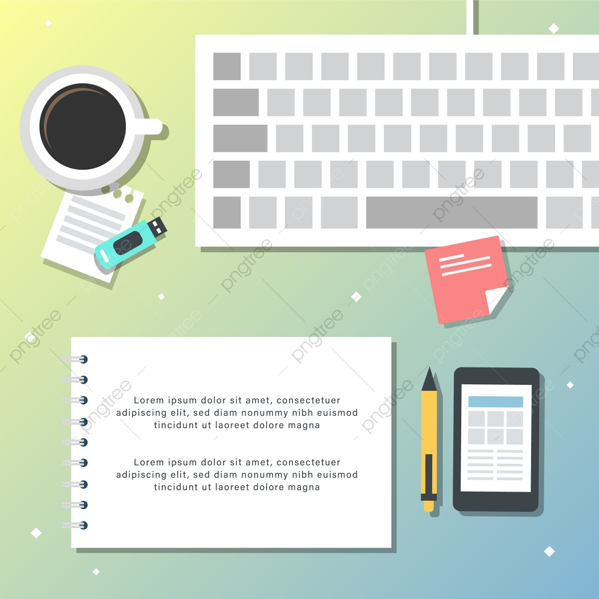 gradiente flat lay vista superior office work space vector