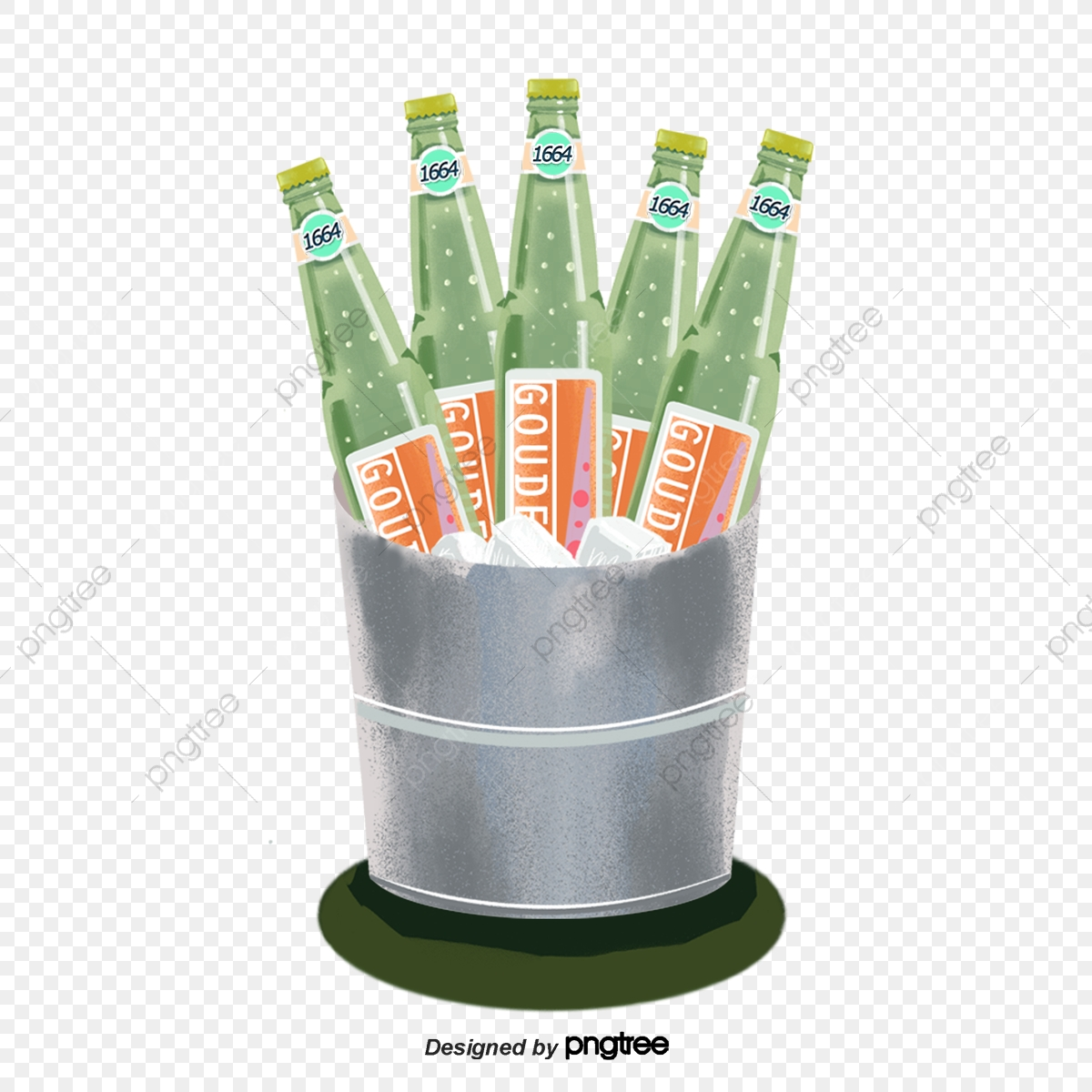 Green Iced Beer Ice Barrel An Ice Bucket Iced Beer Png
