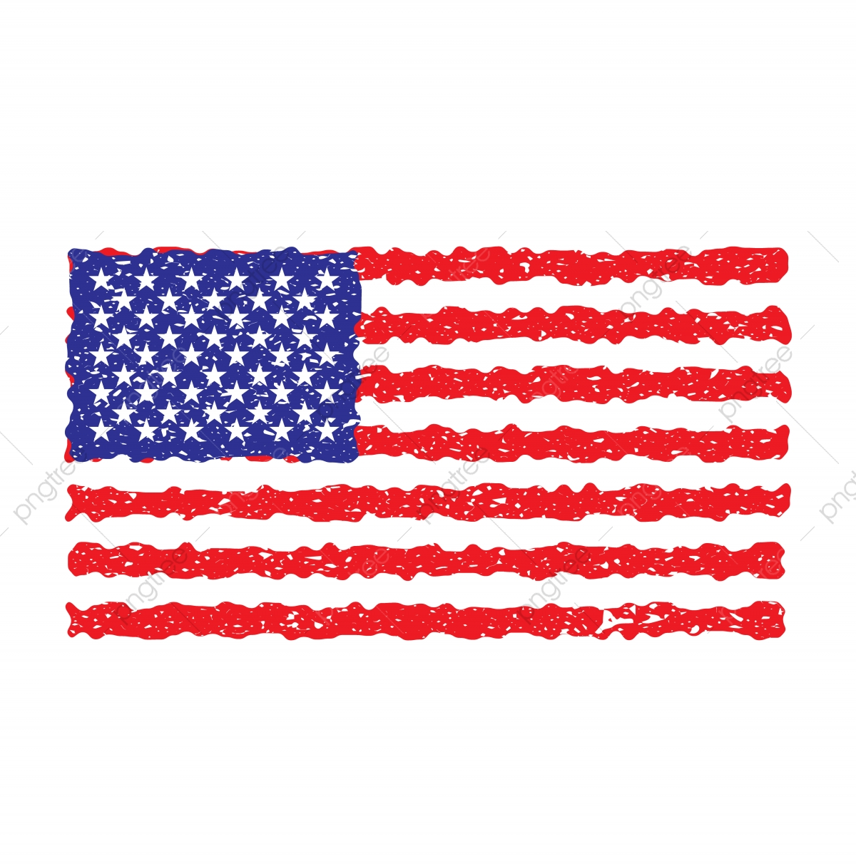 American flag grunge. Usa vector png and