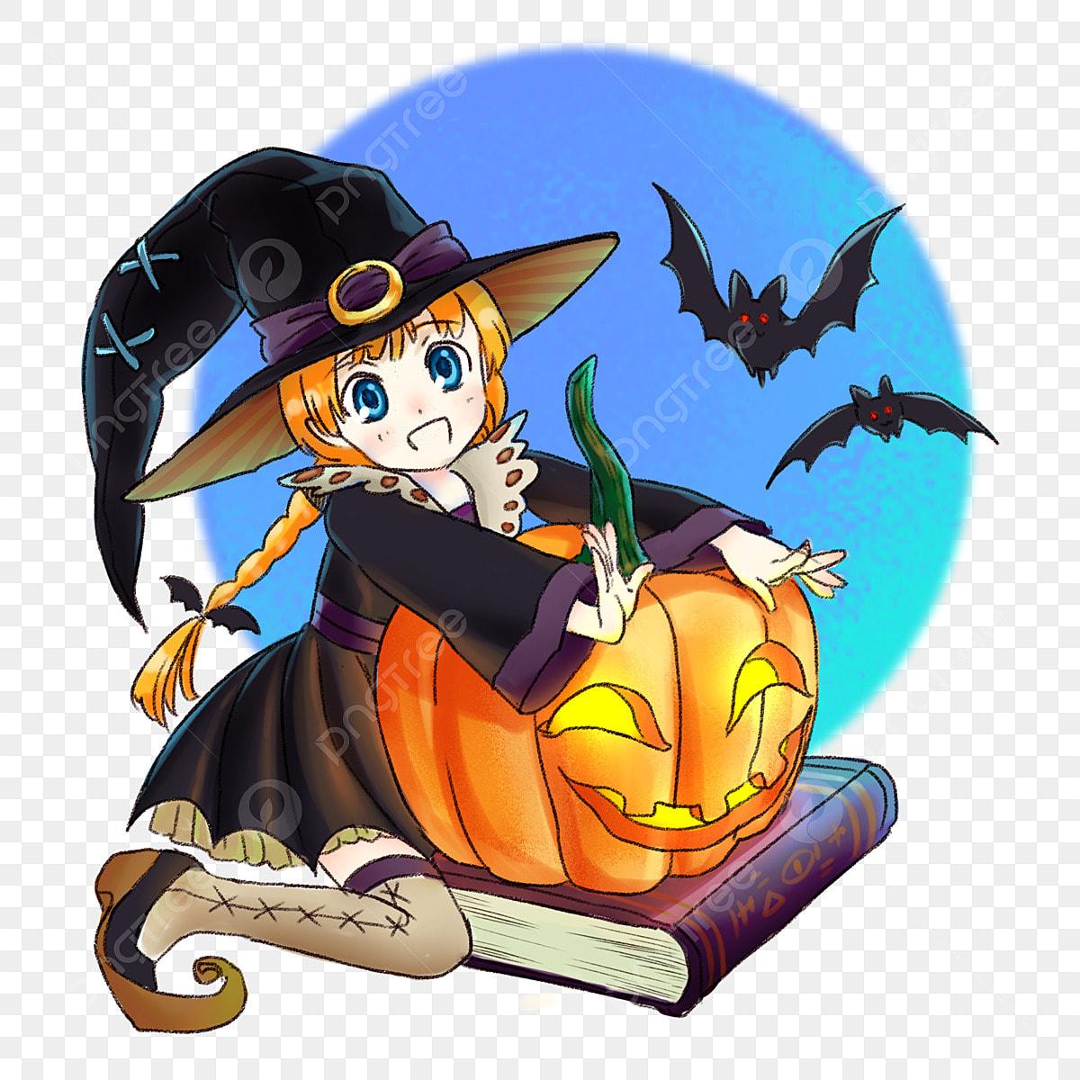Halloween Fofos Pintados A Mao Dos Desenhos Animados Bruxinha