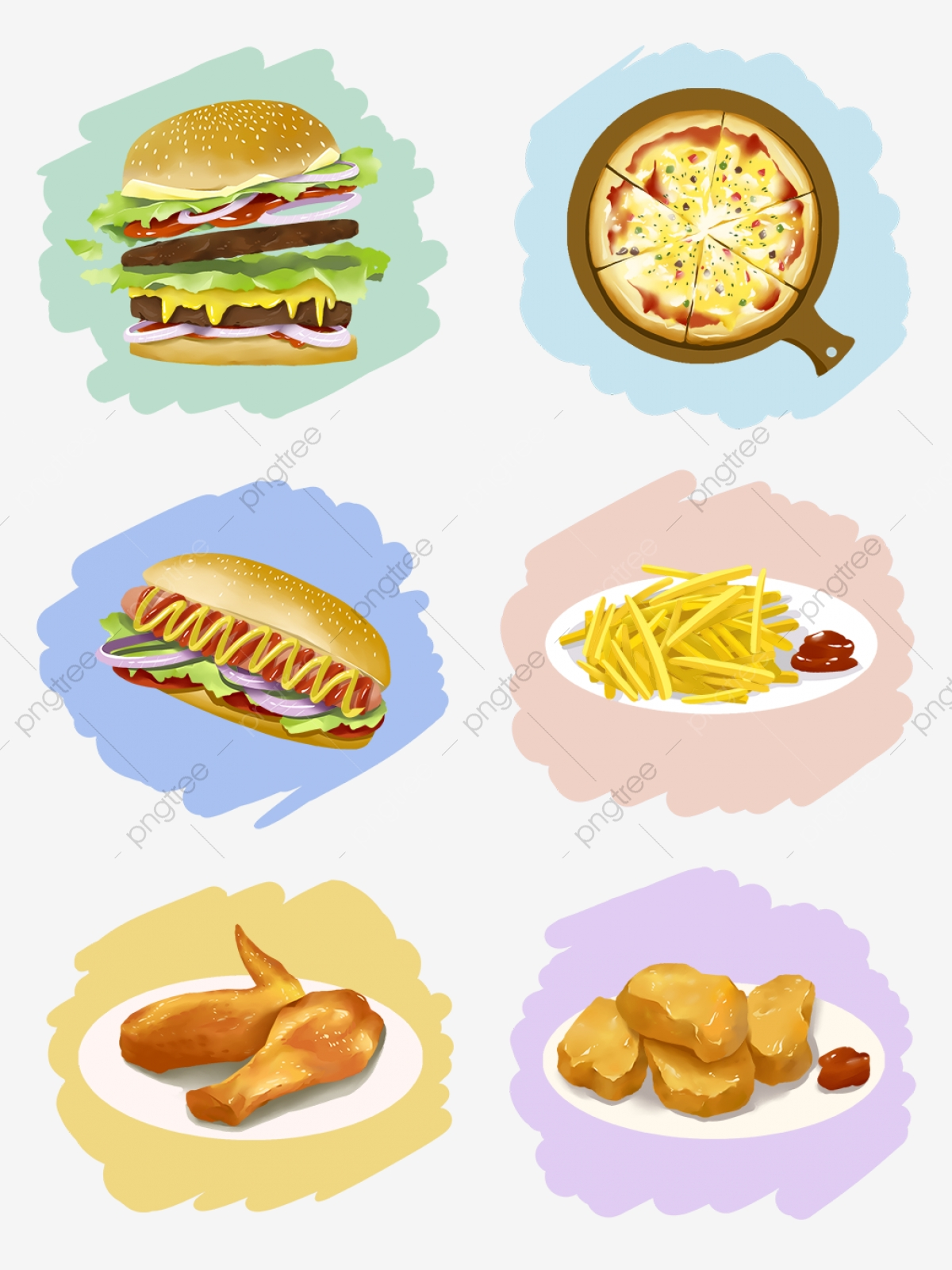 Hand Drawing Cartoon Material Food Fast Foreign Burger Pizza Hot