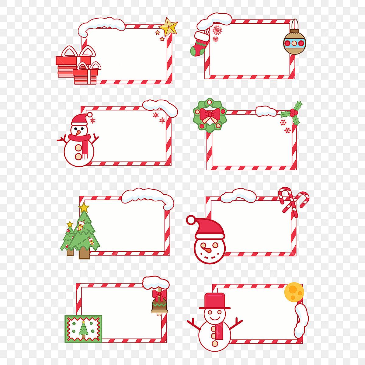 Disegno A Mano Dei Cartoni Animati Elementi Di Frontiera Di Natale