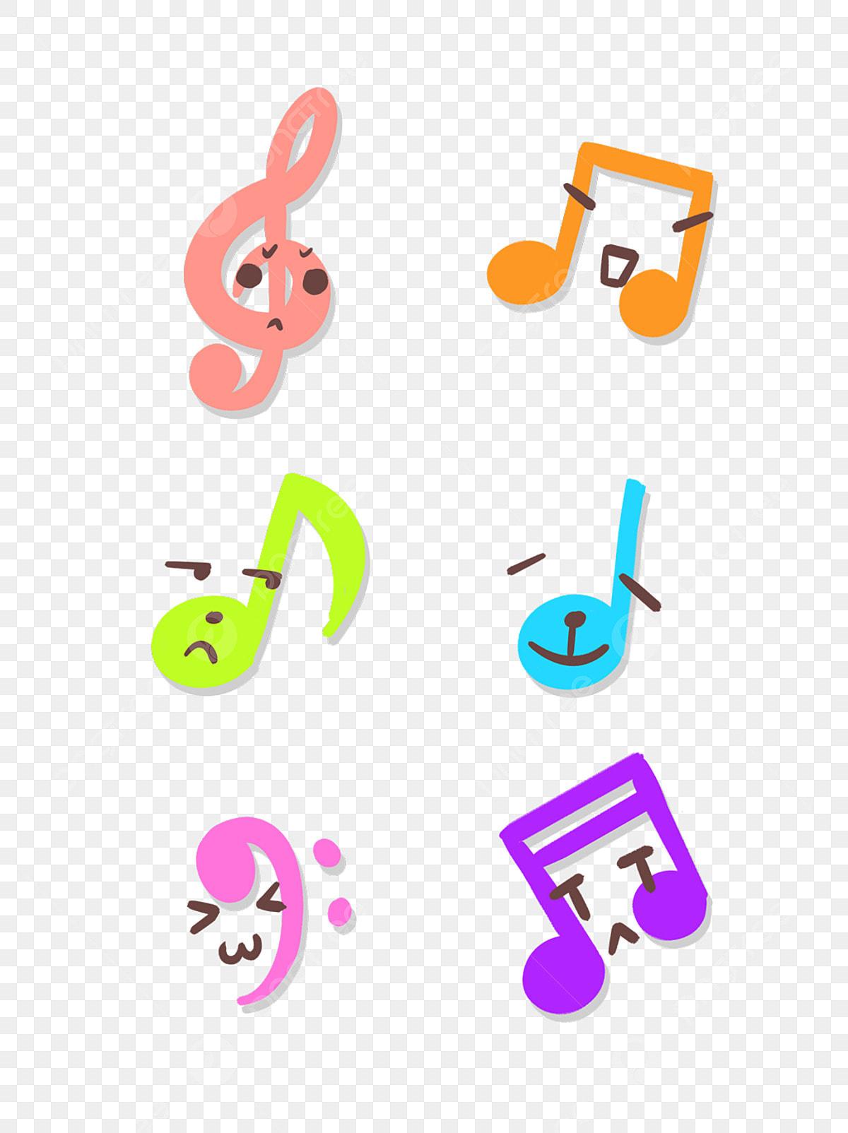 Hand Drawn Cartoon Cute Colorful Musical Notes Music ...