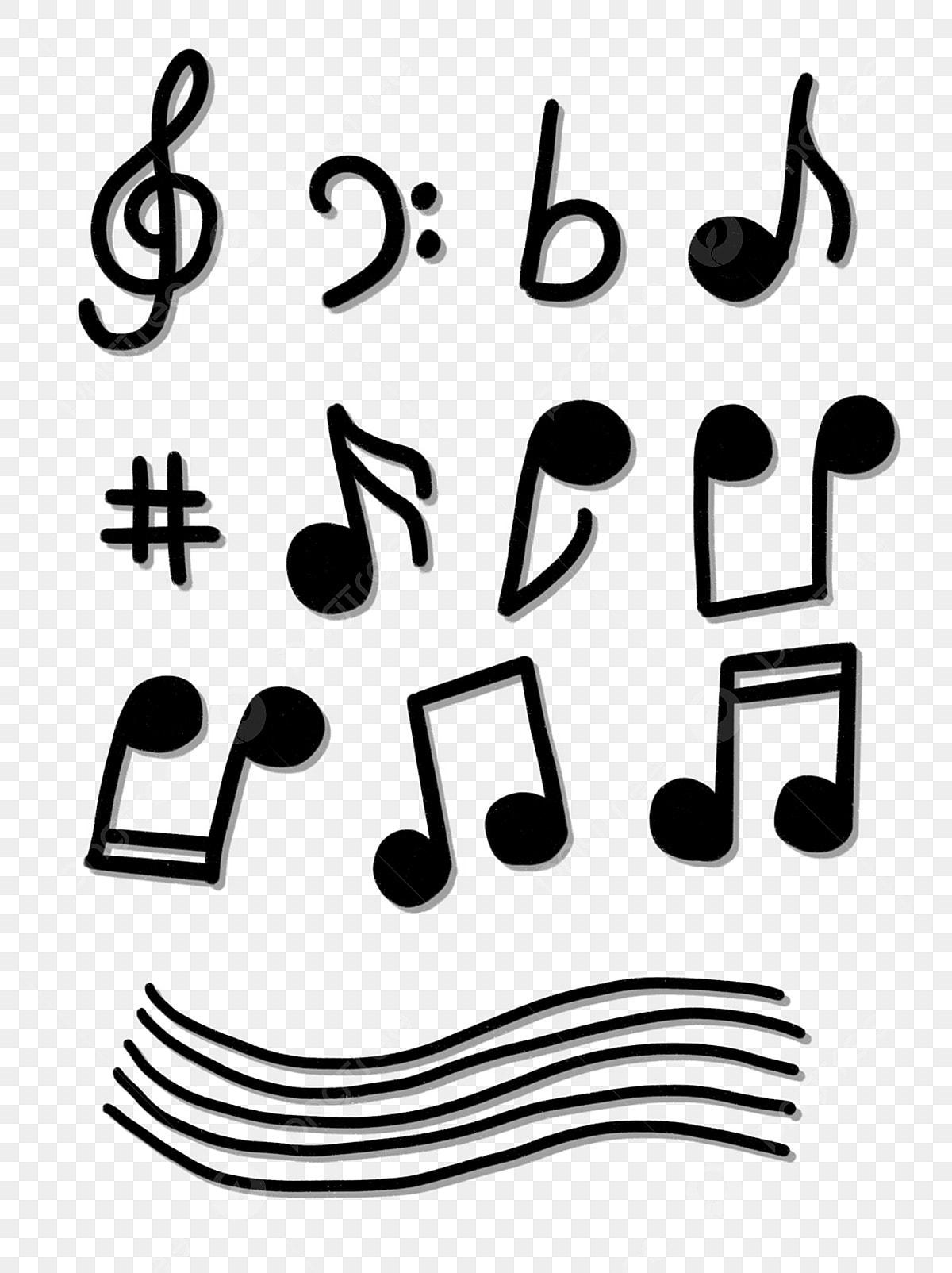 Hand Drawn Cartoon Cute Musical Notes Music Symbols For