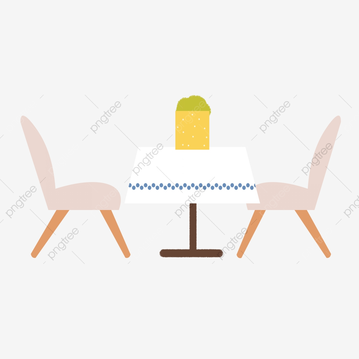 Hand Drawn Cartoon Table And Chair Elements Dining Table