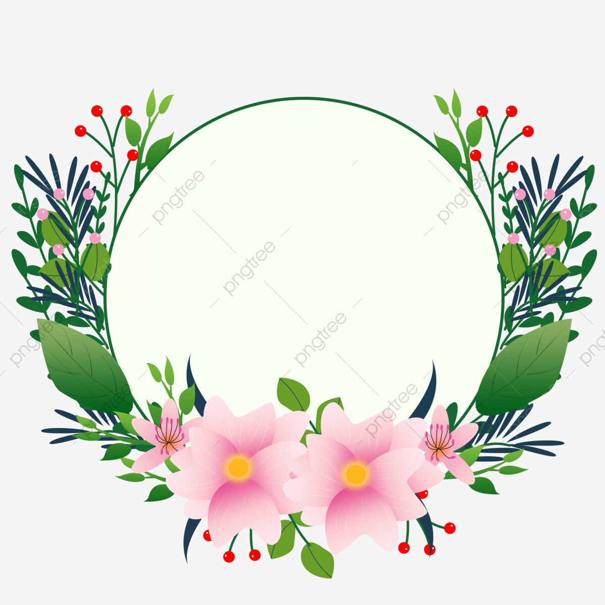 Hand Drawn Green Floral Round Border Design Element Hand Painted