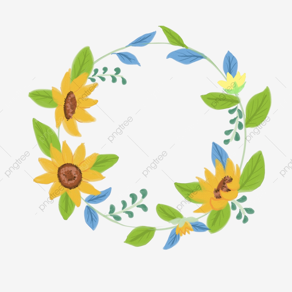 Hand Drawn Sunflower Wreath Illustration Element Hand Painted Sunflower Wreath Png Transparent Clipart Image And Psd File For Free Download