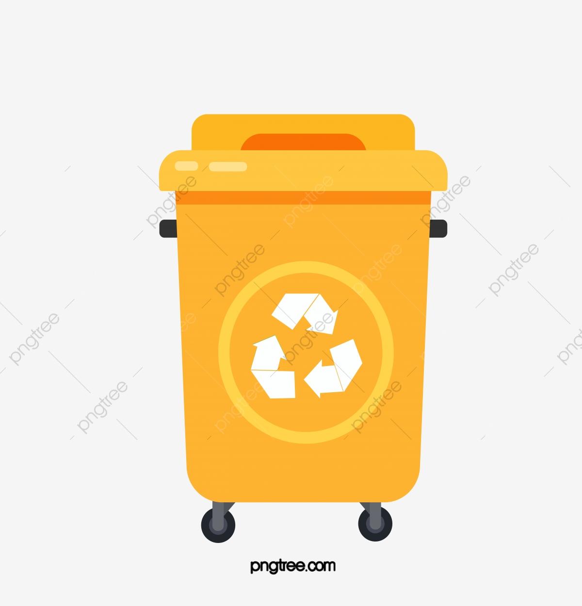 Hand Painted Orange Recycling Bin, Cartoon, Recovery