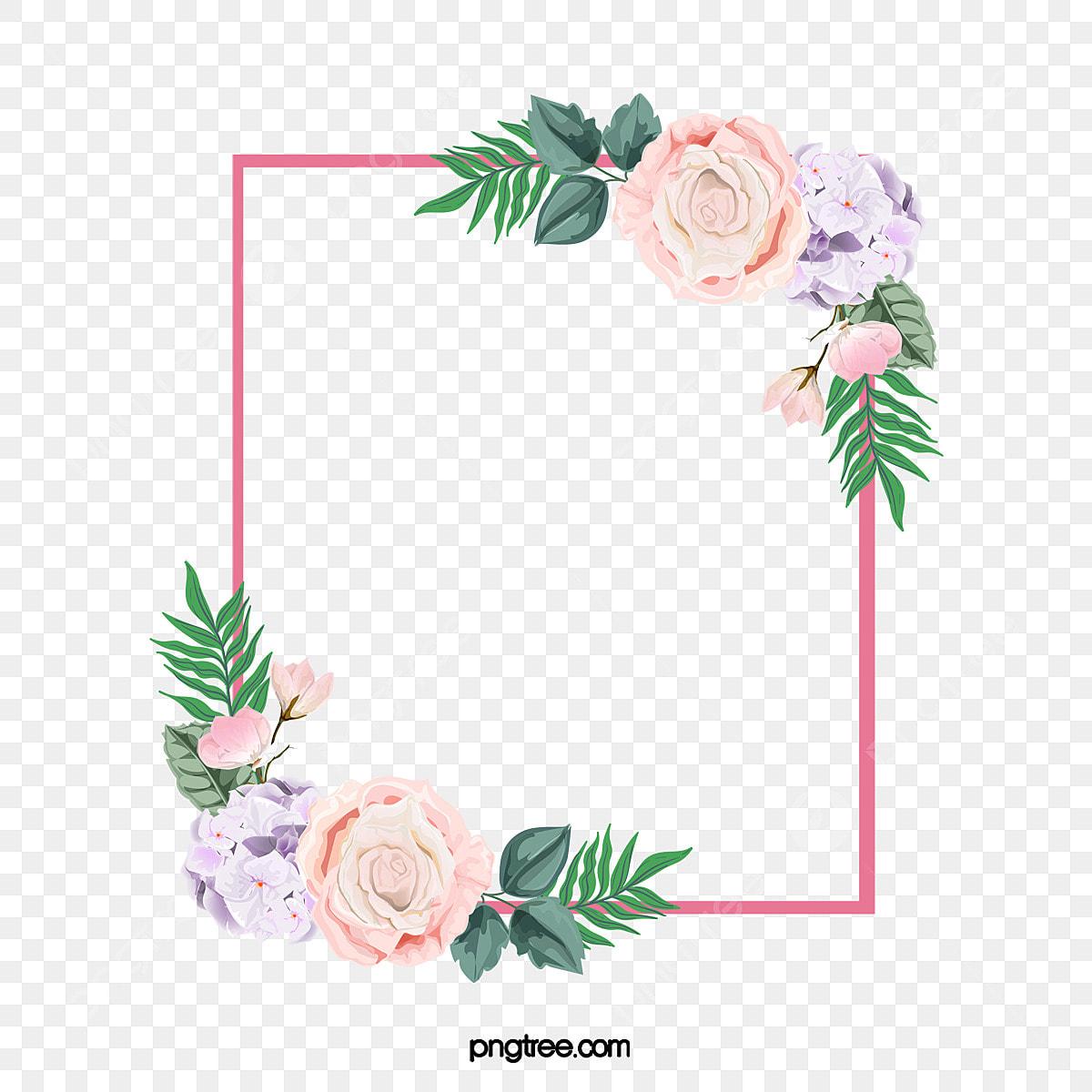 Bordes De Flores Rosas Pintadas A Mano Topografía Rosa