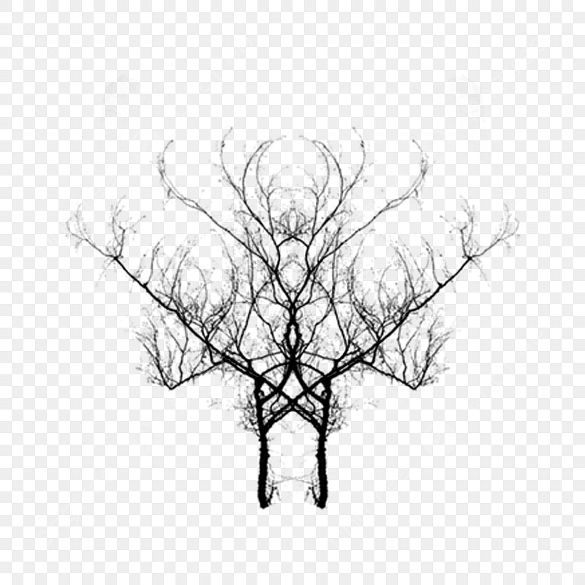 رسم خيال الشجرة الميتة أبيض وأسود بسيط رسمت باليد يمكن أن يكون