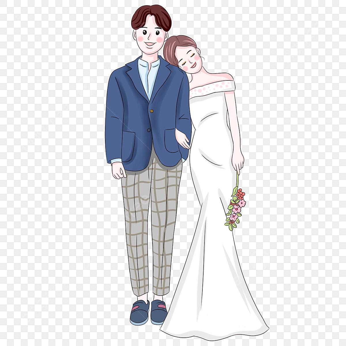 Tangan Dicat Pasangan Pengantin Watak Anime Animasi