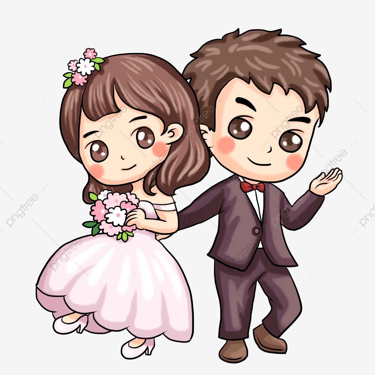Painted Western Style Wedding Couple Illustration Married Couple Cartoon Png Transparent Clipart Image And Psd File For Free Download