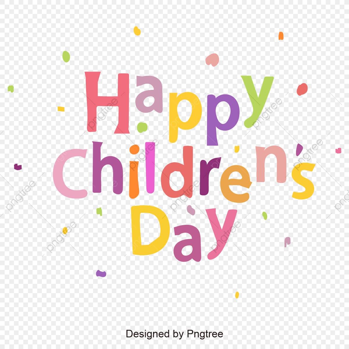Happy Children S Day Color Font Design, Happy Children's Day ...