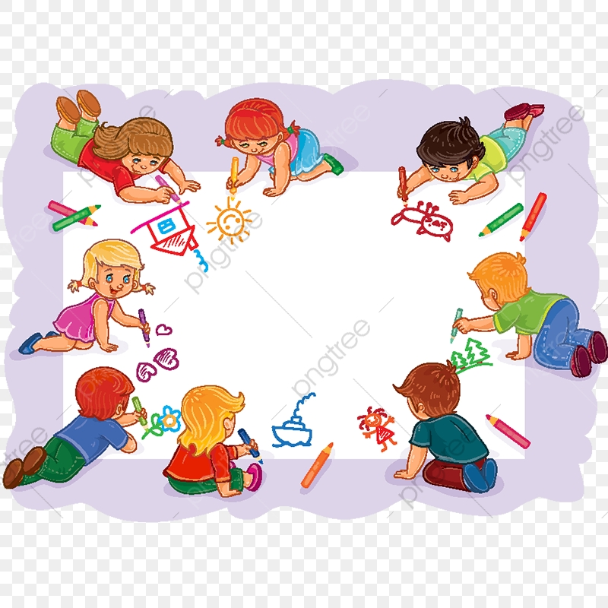 يرسم الأطفال السعداء مع ا على ورقة كبيرة أطفال المدارس المرسومة قليل طفل Png والمتجهات للتحميل مجانا