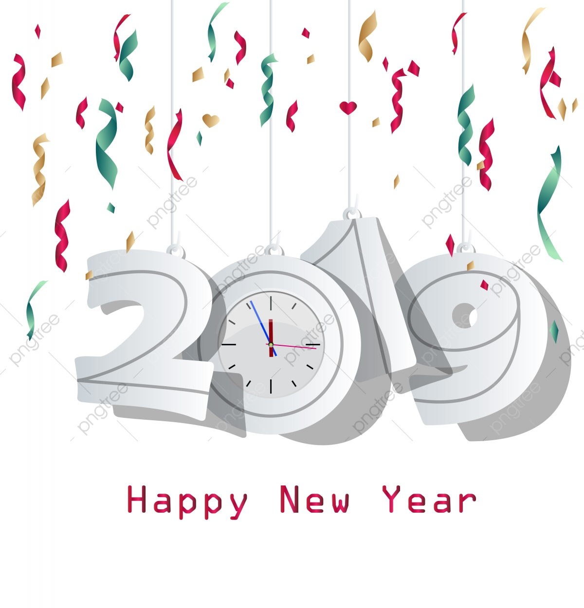 Happy New Year 2019, Happy, White, Wallpaper PNG and Vector with