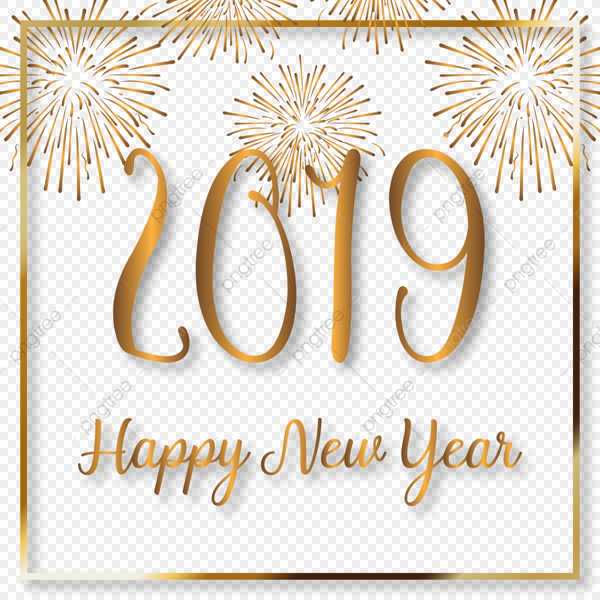 Happy new year photo frame png