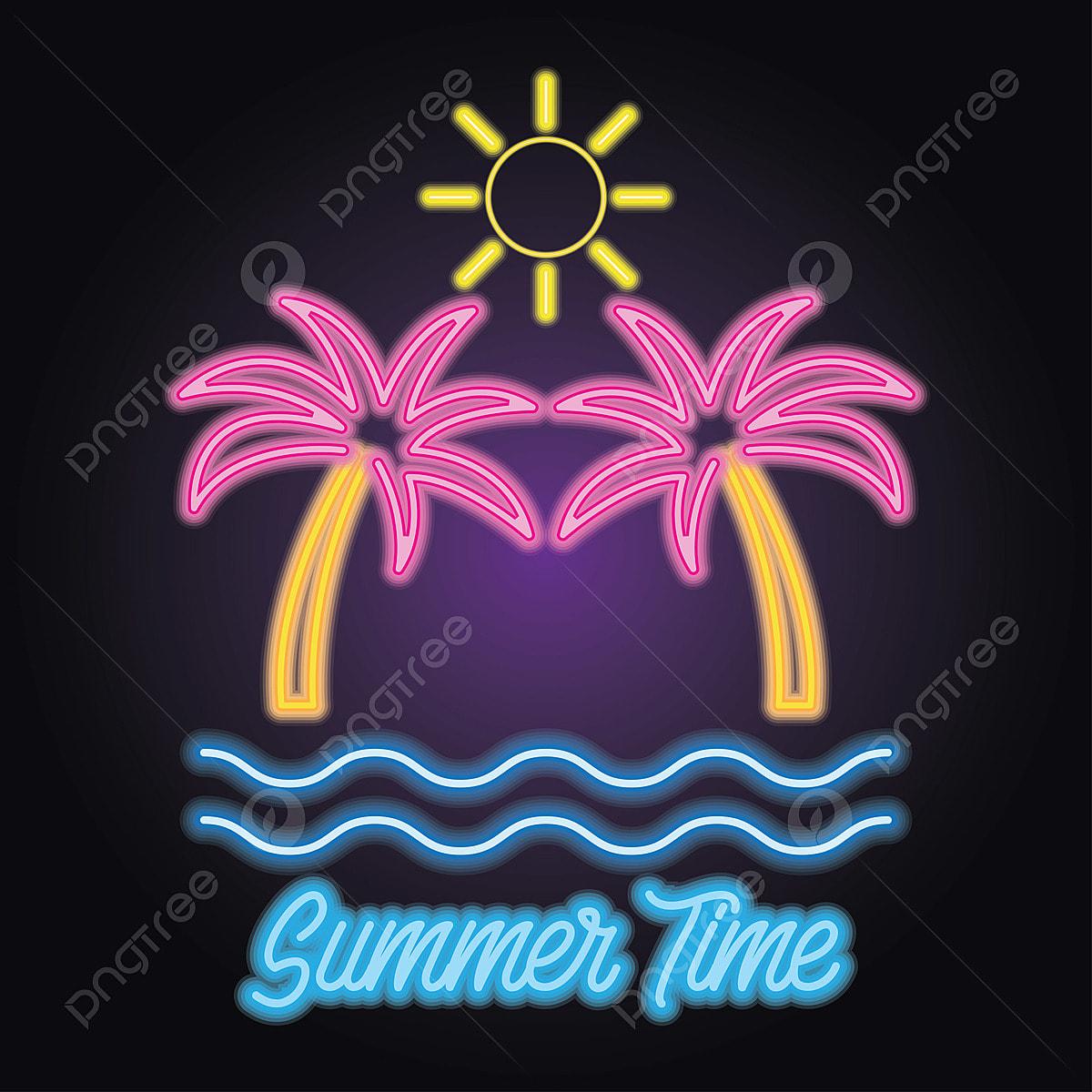 Hello Summer Logo With Neon Sign Effect  Vector Illustration, Summer