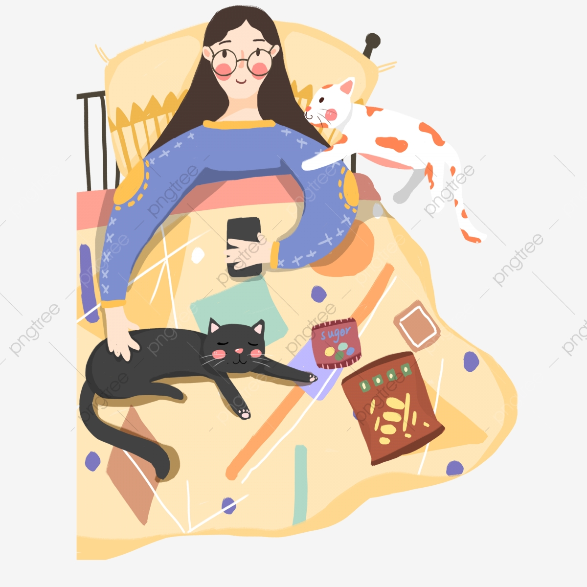 Picture of: House Woman Design Lying On The Bed Painted Warm Illustration Png Transparent Clipart Image And Psd File For Free Download
