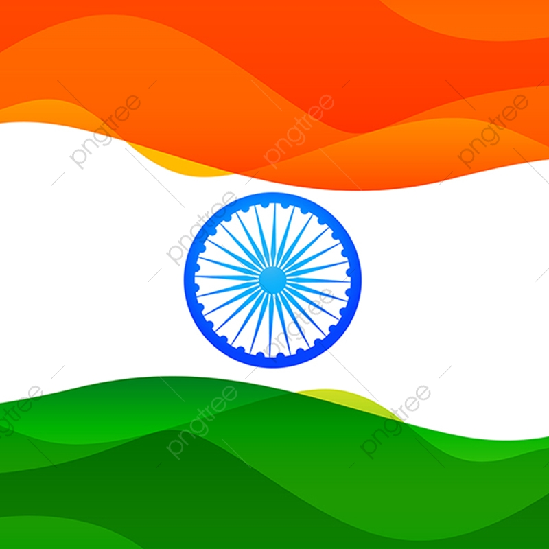 Indian Flag Made In Simple Wave Style With Tricolor Indian