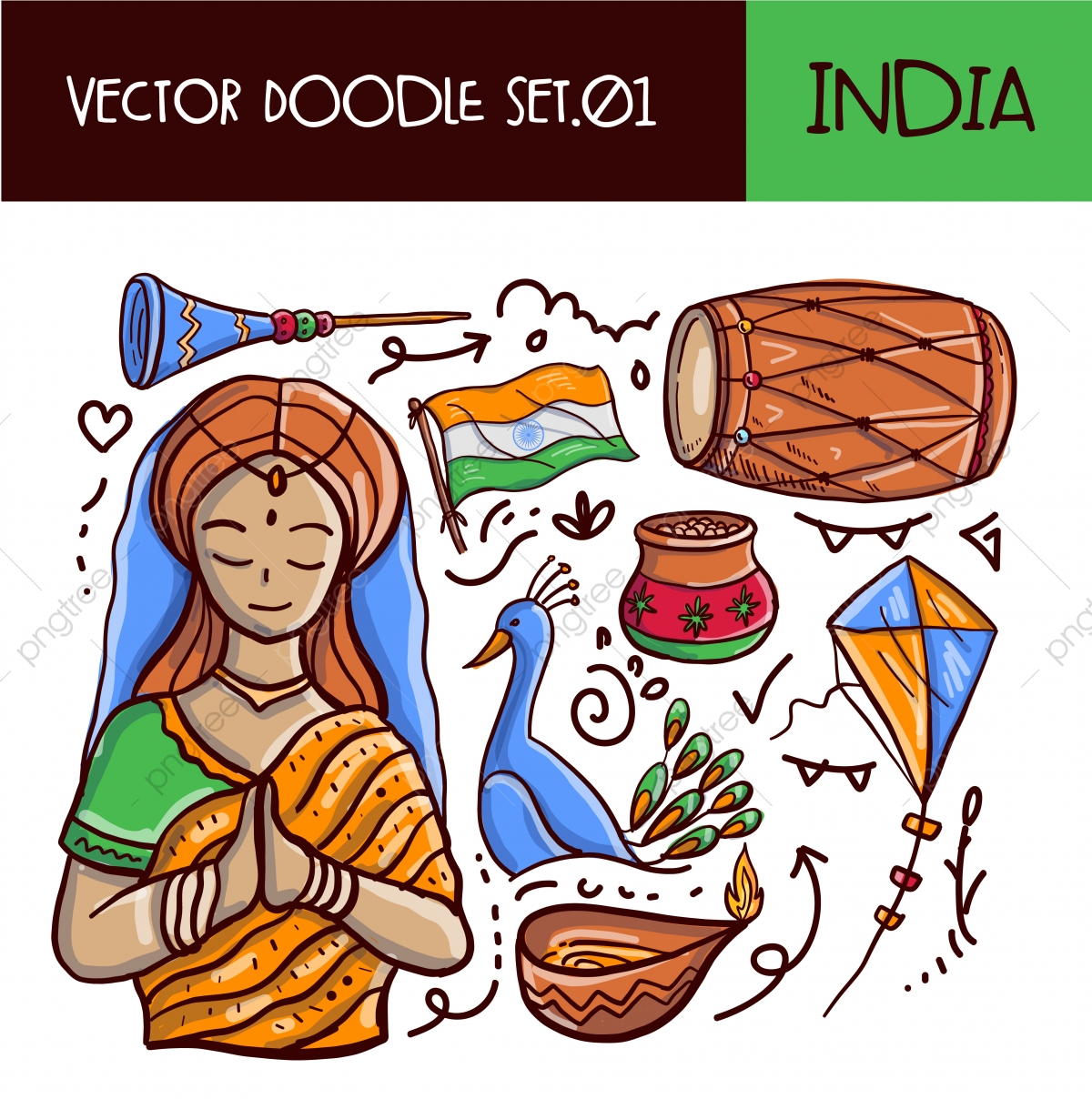 Indian Republic Day Doodle Icon Set Vector Hand Drawn Style