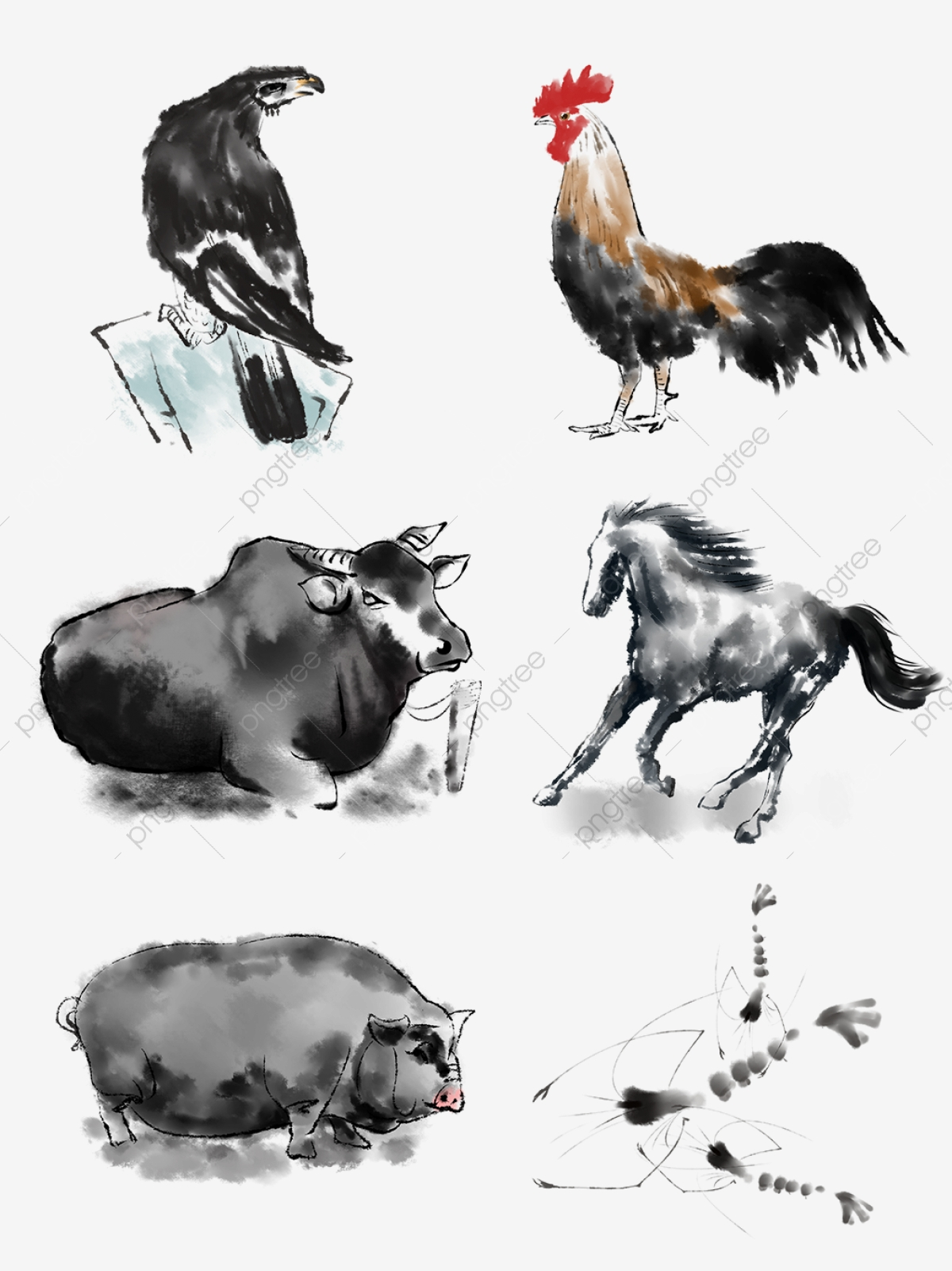 Ink Animal Chinese Painting Series Commercial Brush Strokes
