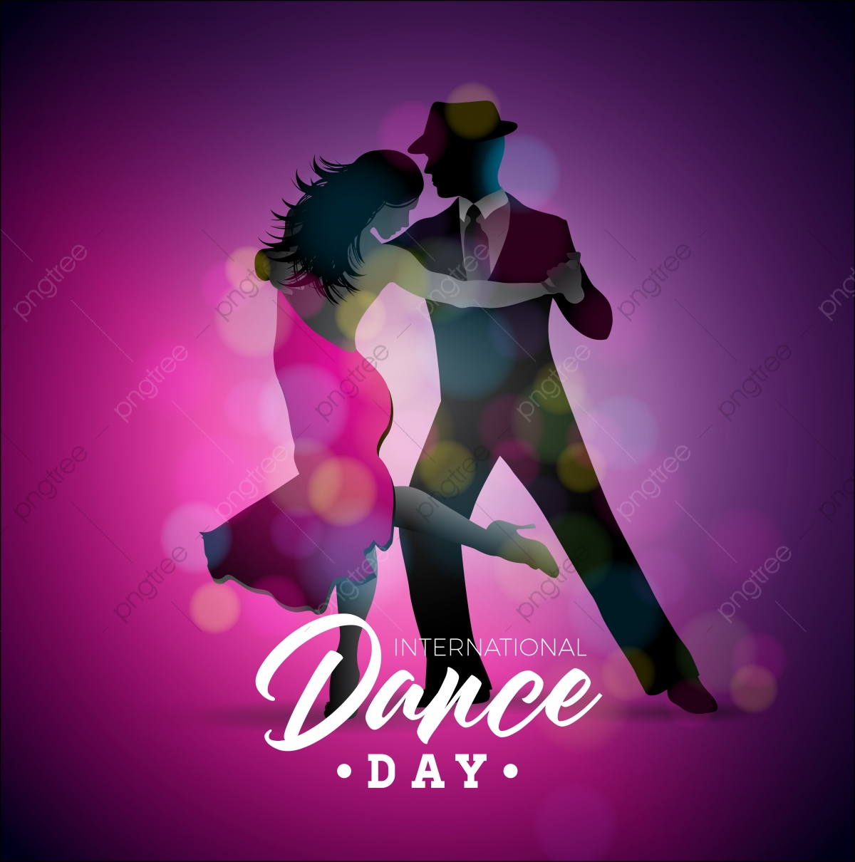 International Dance Day Vector Illustration With Tango Dancing Couple On Purple Background Design Template For Banner Flyer Invitation Brochure Poster Or Greeting Card Dance Background Day Png And Vector With Transparent Background