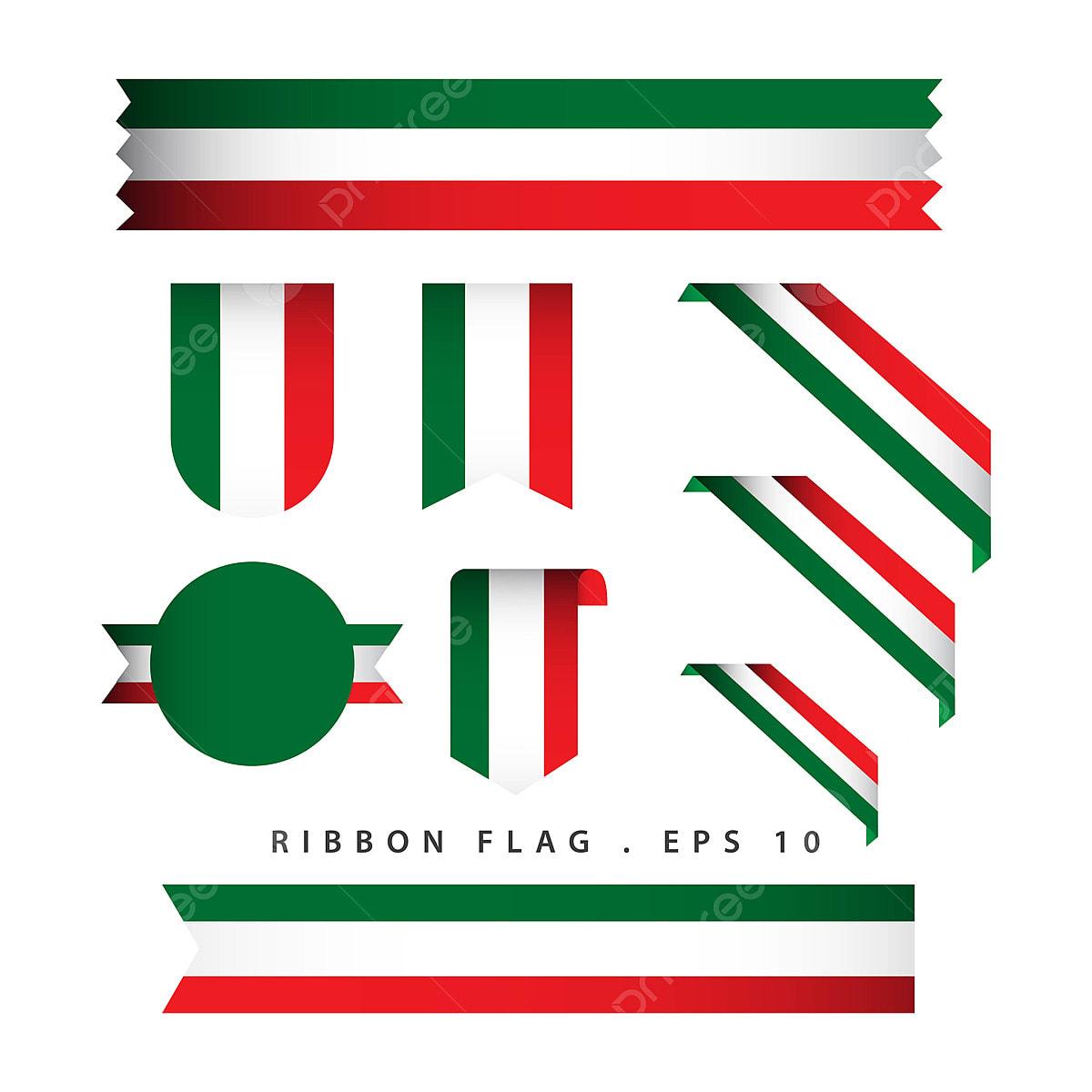 A Itália Ribbon Vector Design Template Bandeira Ilustração