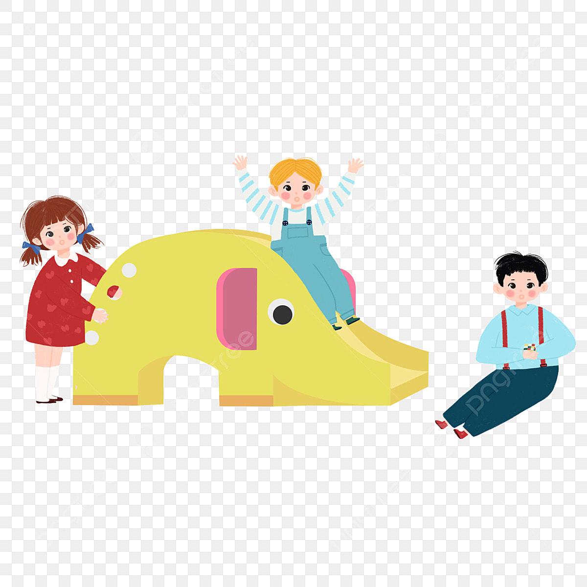 Los Niños De Jardín Infantes Que Juegan Con Dibujos Animados