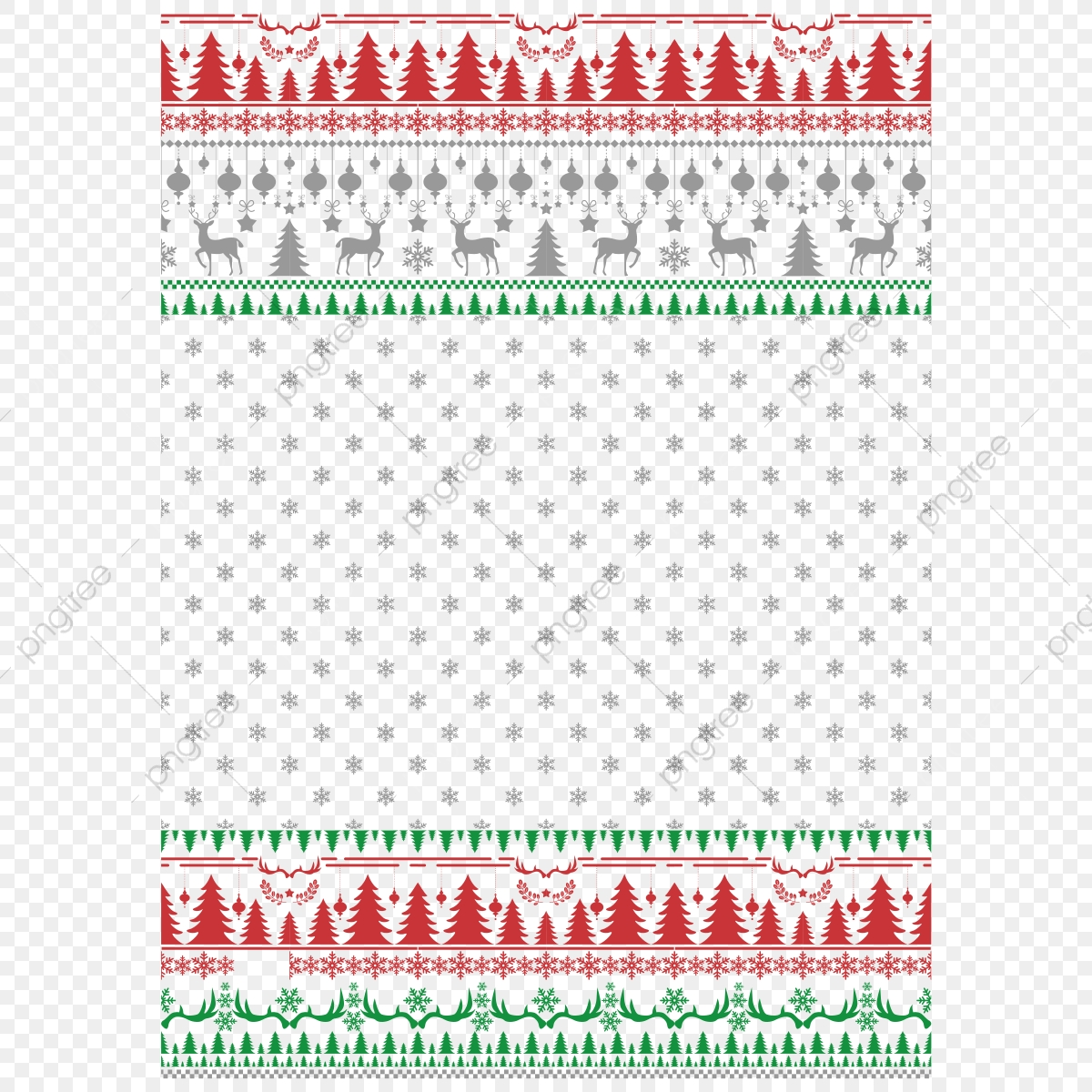 pngtree knitted elements and borders for christmas new year or winter design png image 3687567
