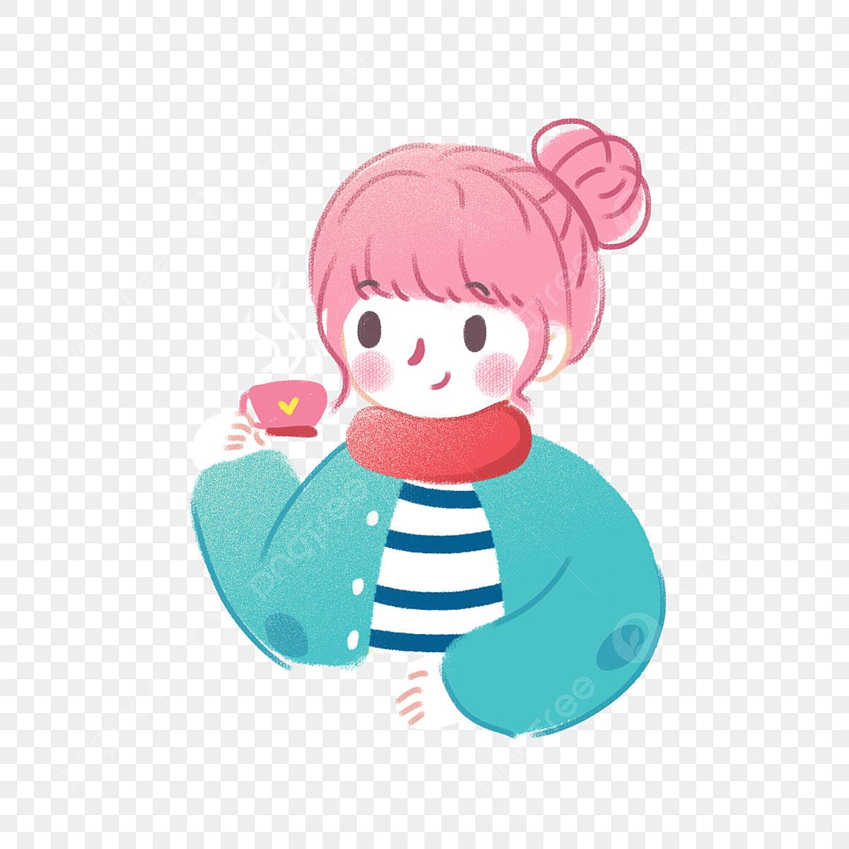 Kartun Korea Lucu Gadis Kecil Yang Minum Kopi Boleh Menjadi
