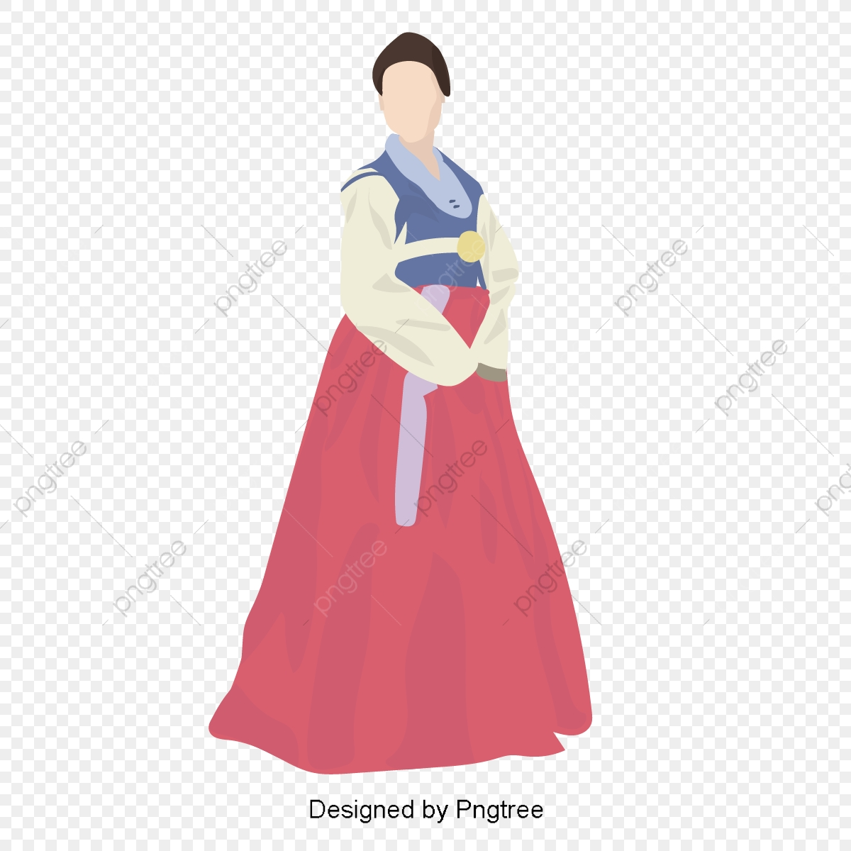 Korean Traditional Clothing Female Vector Characters, Female