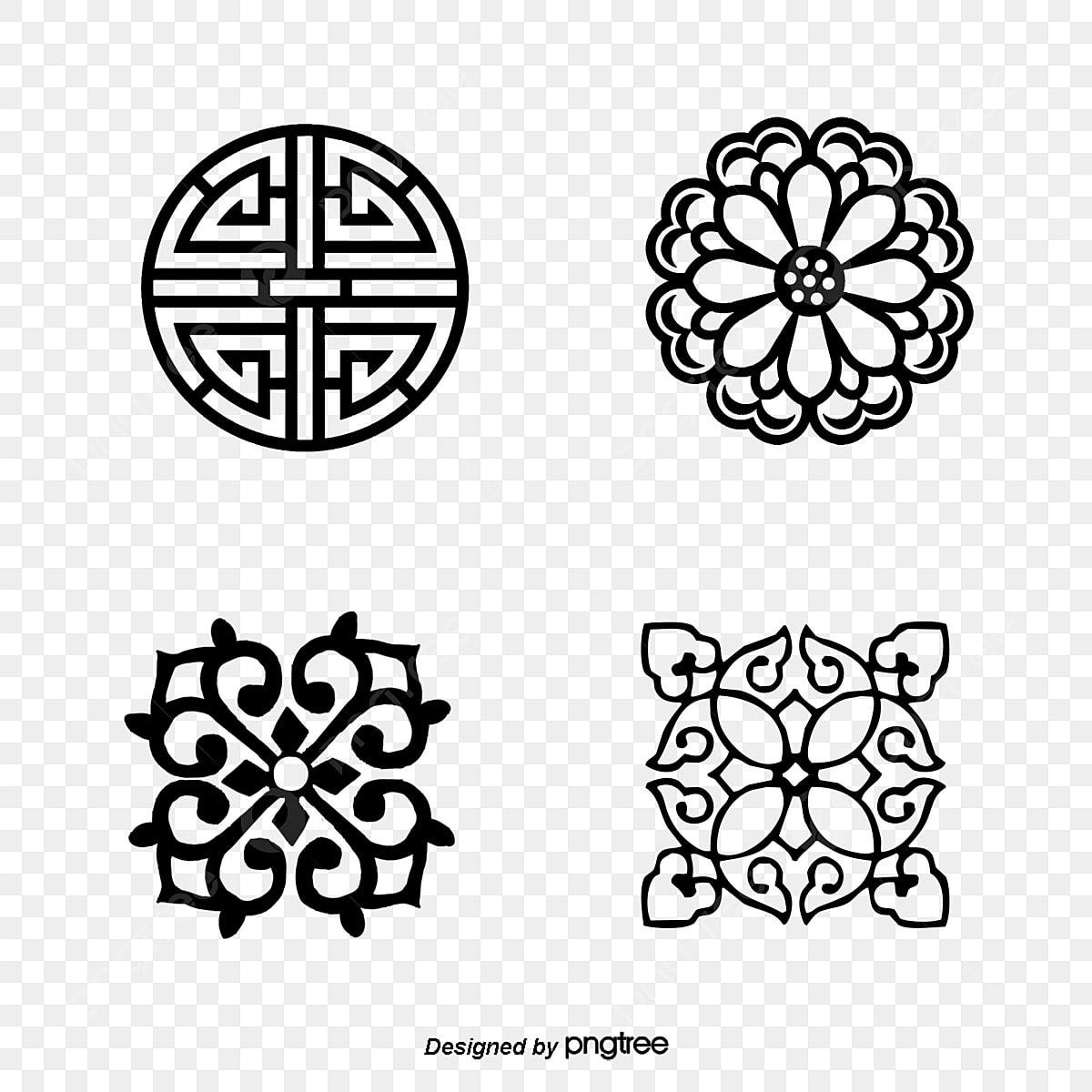 한국 전통 새해 문양 도안, 전통, 새해, 장식 원소무료