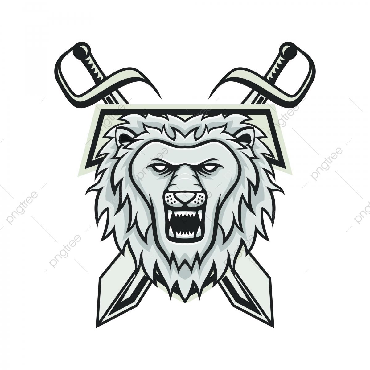 Löwen Maskottchen Kopf Logo Illustration Emblem Isolierte