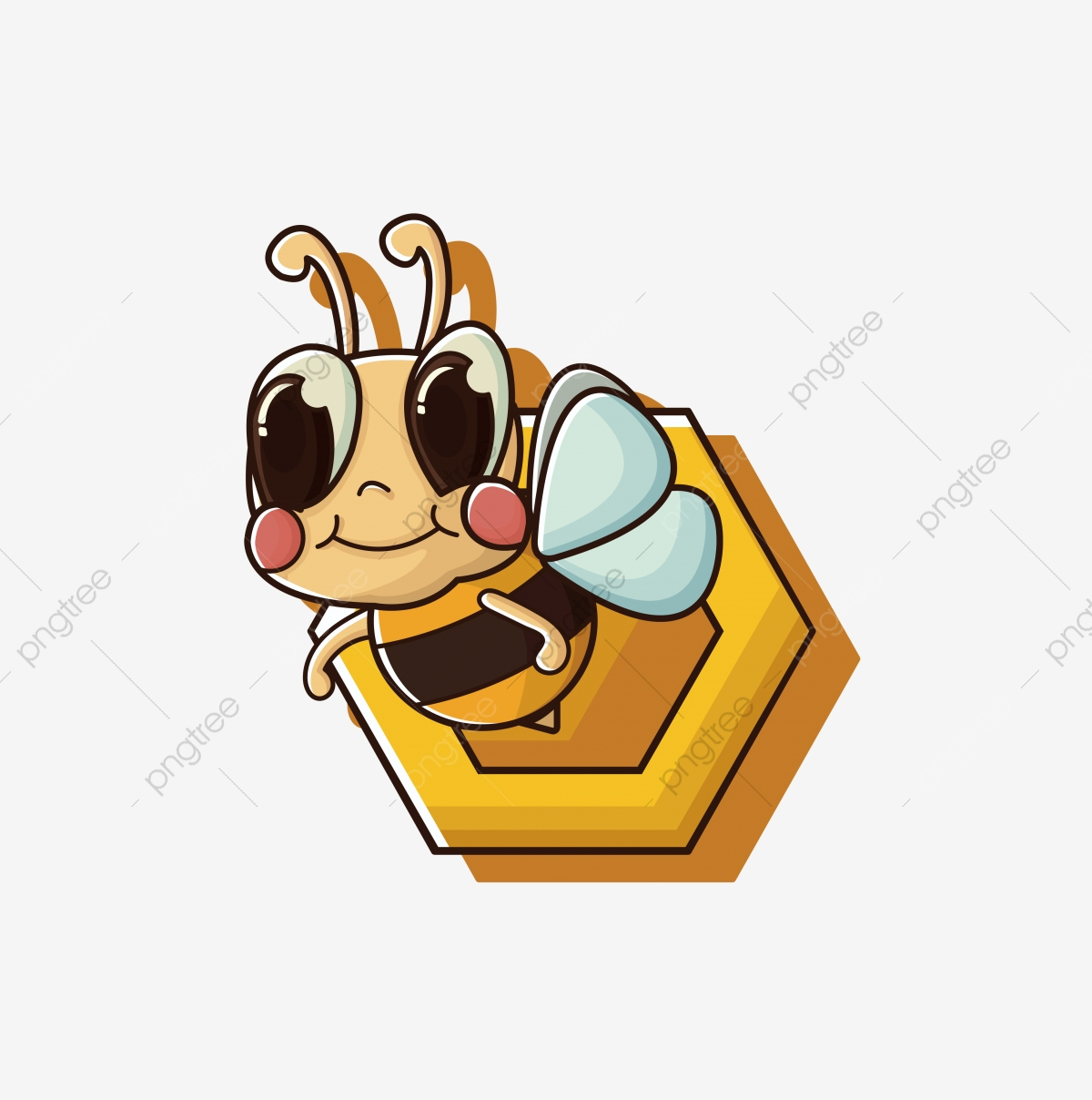 Little Bee Png Free Mbe Style Bee Yellow Bee Cartoon Bee Cute Bee Staying Cute Bee Hand Painted Bee Png And Vector With Transparent Background For Free Download