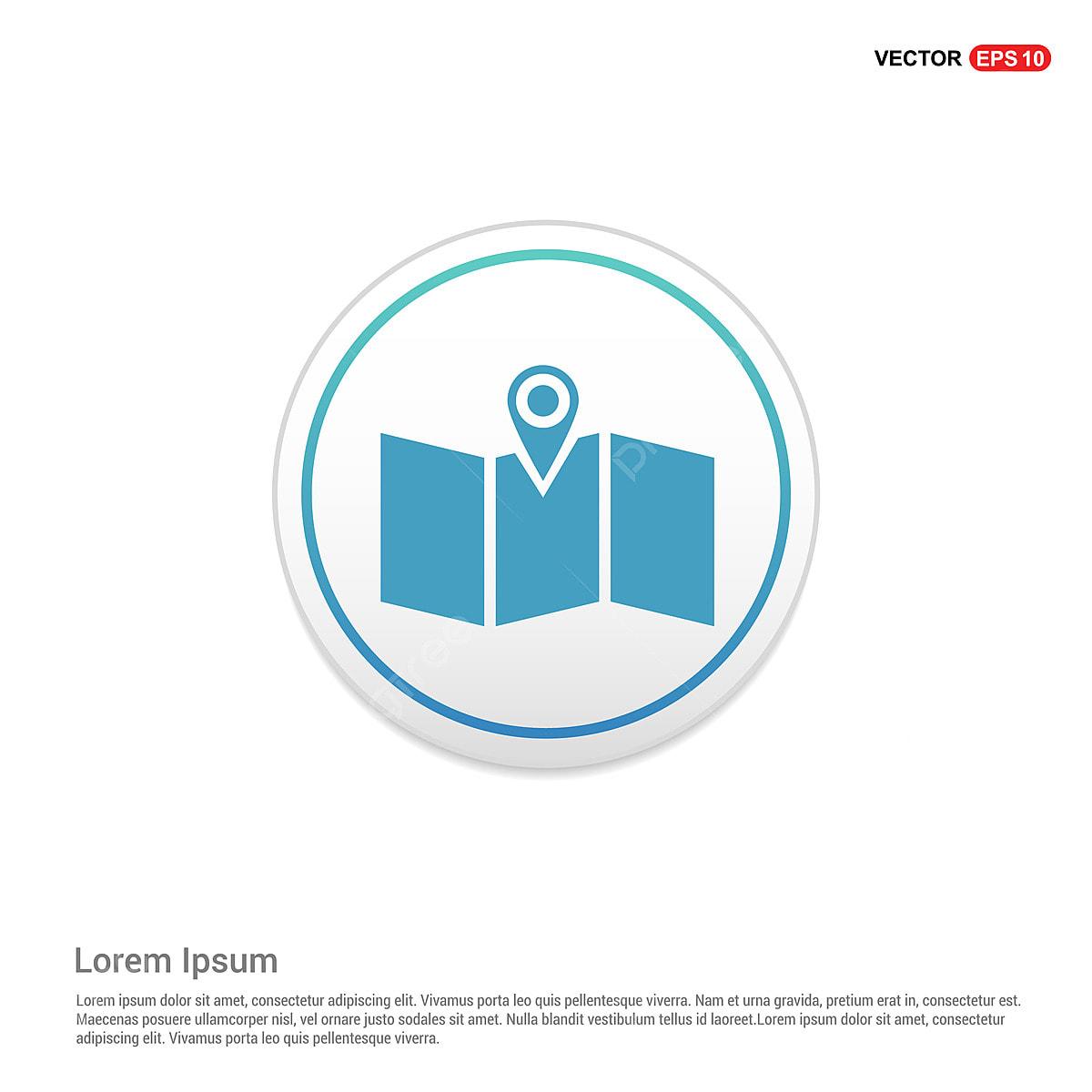 Map Location Icon White Circle Button, Border, Content, Flat